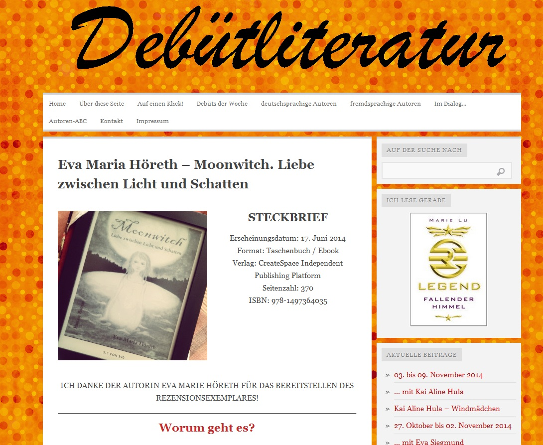 Rezension Moonwitch auf Debütliteratur