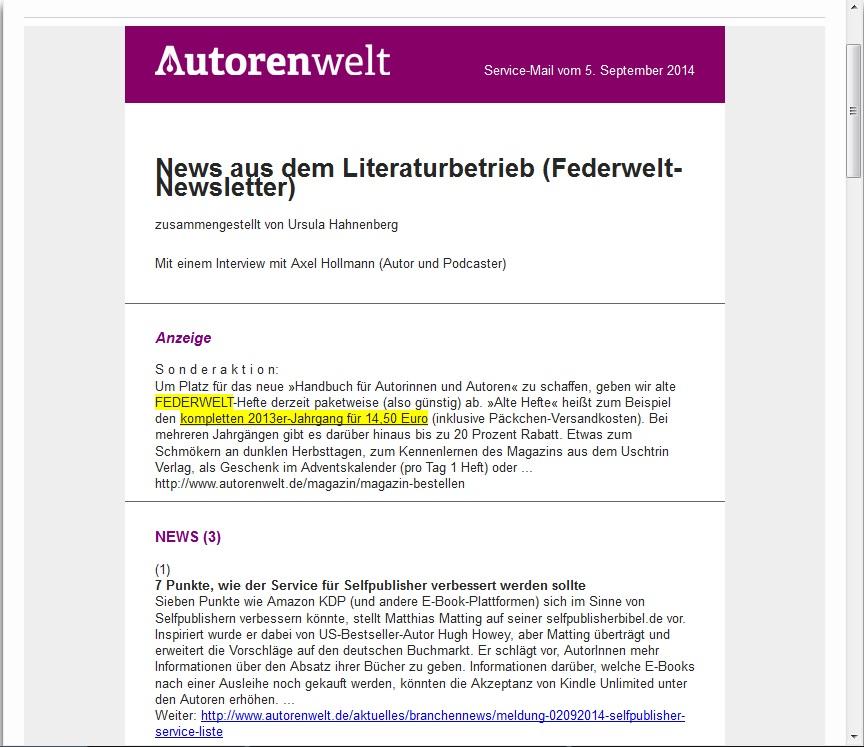 newsletter federwelt