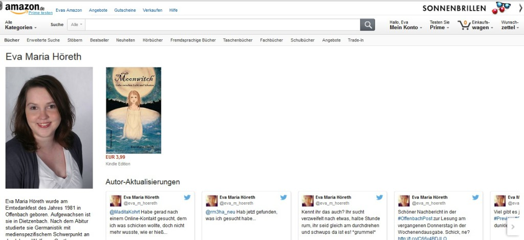 Amazon Author Central Seite Eva Maria Höreth