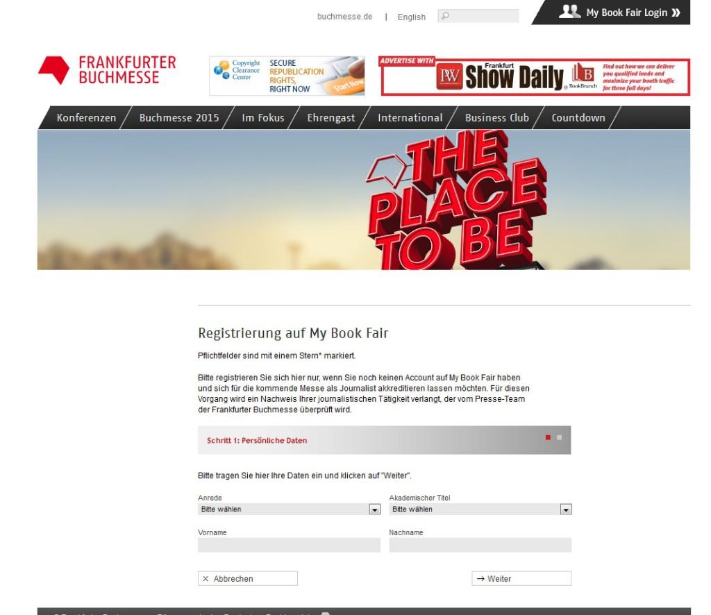 akkreditierungsseite der frankfurter Buchmesse