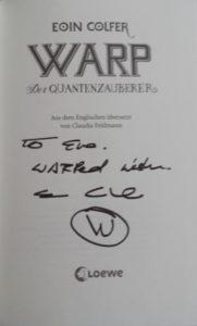 Widmungen von Eoin Colfer in Quantenzauberer